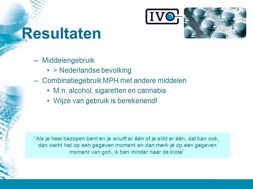 Resultaten Middelengebruik > Nederlandse bevolking
