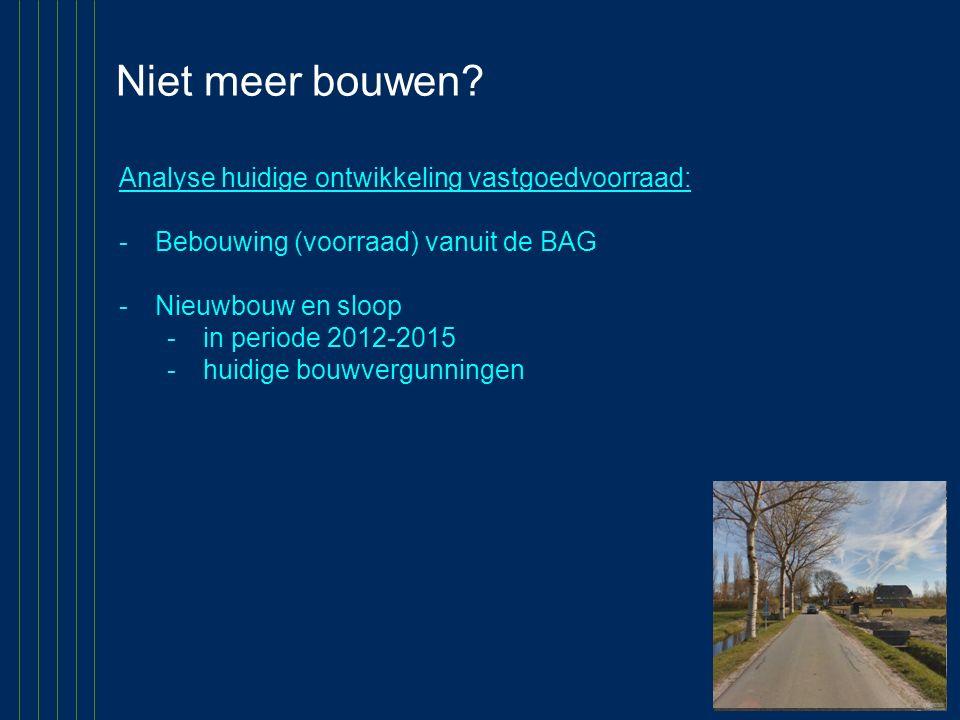 Niet meer bouwen Analyse huidige ontwikkeling vastgoedvoorraad: