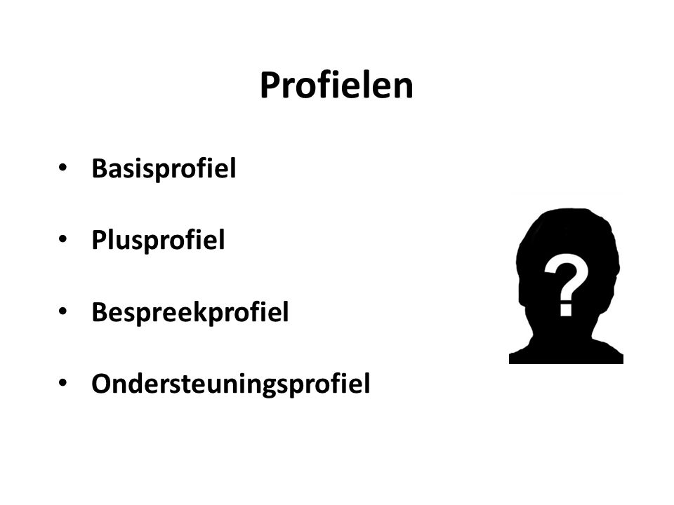 Basisprofiel Plusprofiel Bespreekprofiel Ondersteuningsprofiel