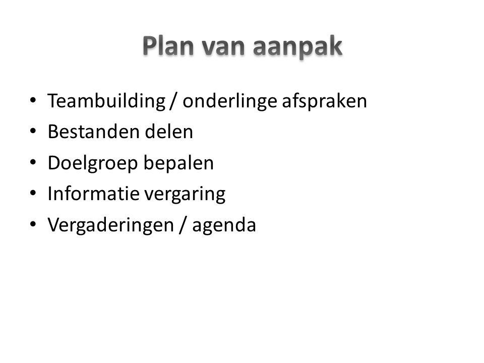 Plan van aanpak Teambuilding / onderlinge afspraken Bestanden delen