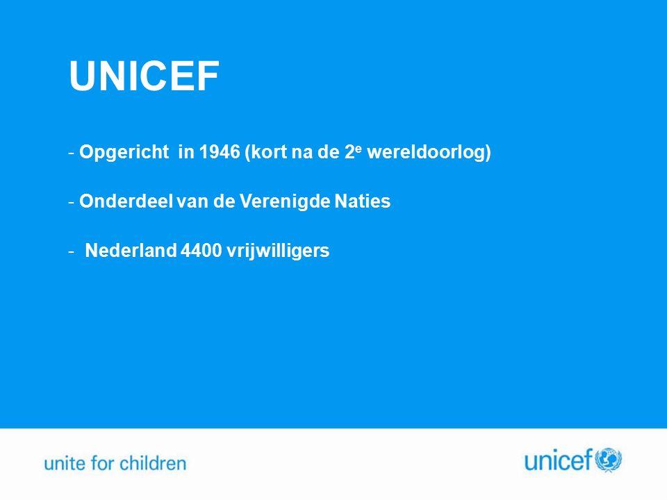 UNICEF Opgericht in 1946 (kort na de 2e wereldoorlog)