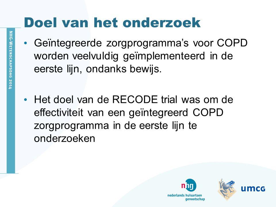 Doel van het onderzoek Geïntegreerde zorgprogramma's voor COPD worden veelvuldig geïmplementeerd in de eerste lijn, ondanks bewijs.