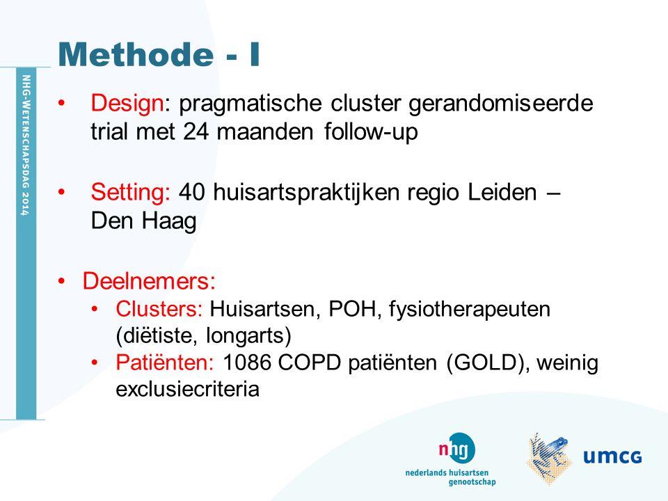 Methode - I Design: pragmatische cluster gerandomiseerde trial met 24 maanden follow-up. Setting: 40 huisartspraktijken regio Leiden – Den Haag.
