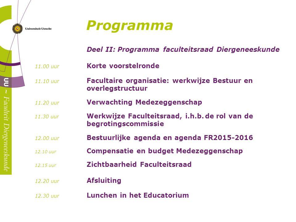 Deel II: Programma faculteitsraad Diergeneeskunde