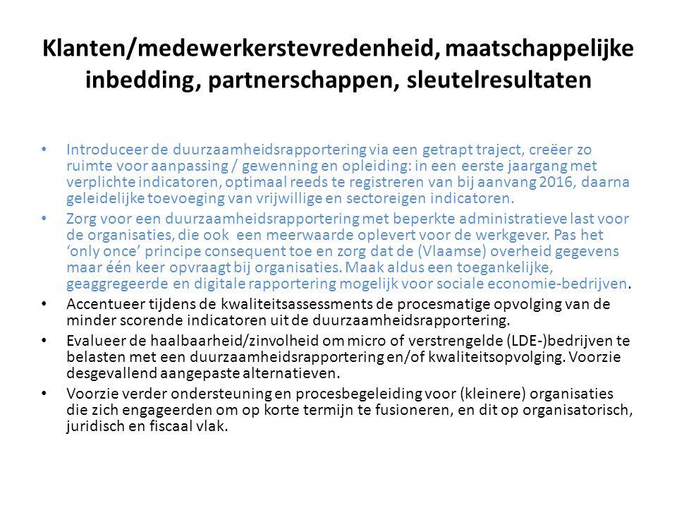 Klanten/medewerkerstevredenheid, maatschappelijke inbedding, partnerschappen, sleutelresultaten