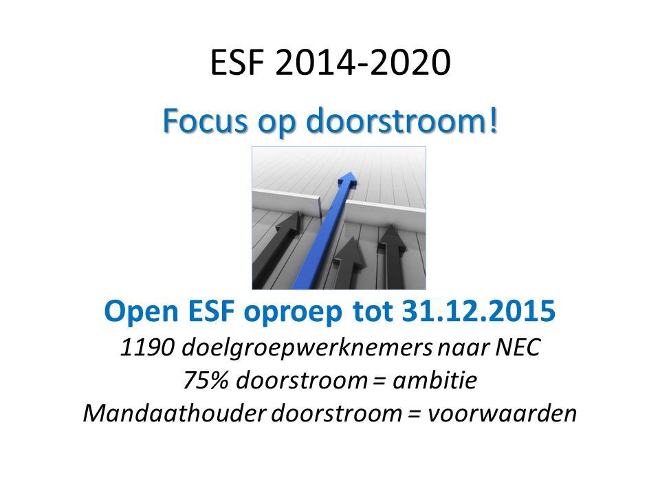 ESF 2014-2020 Focus op doorstroom! Open ESF oproep tot 31.12.2015
