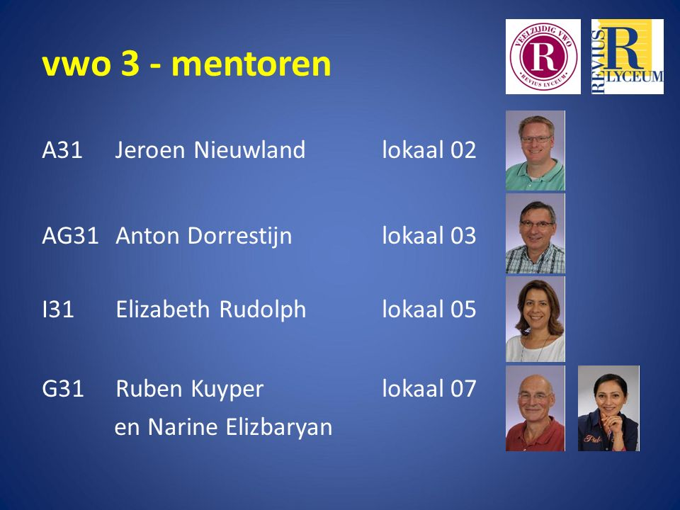 vwo 3 - mentoren A31 Jeroen Nieuwland lokaal 02