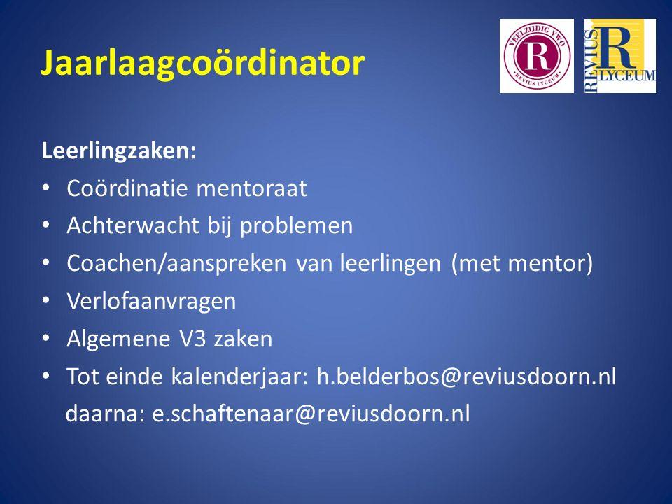 Jaarlaagcoördinator Leerlingzaken: Coördinatie mentoraat