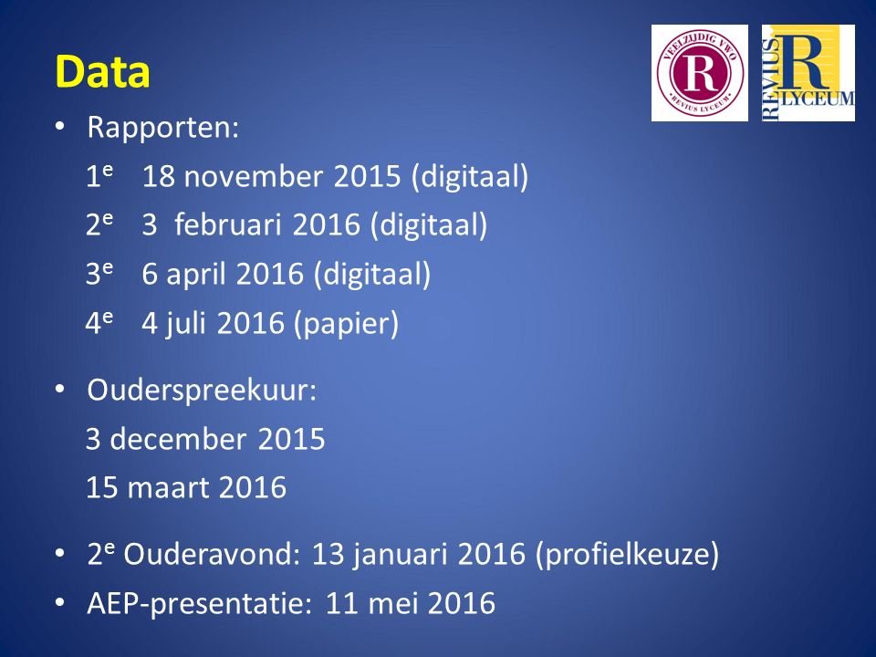 Data Rapporten: 1e 18 november 2015 (digitaal)