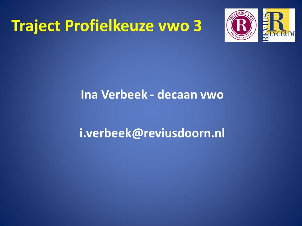 Traject Profielkeuze vwo 3