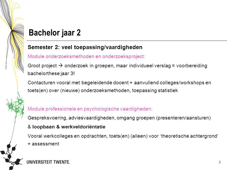Bachelor jaar 2 Semester 2: veel toepassing/vaardigheden