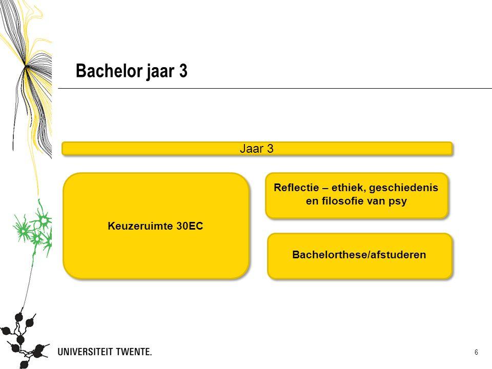 Bachelor jaar 3 Jaar 3. Keuzeruimte 30EC. Reflectie – ethiek, geschiedenis en filosofie van psy.