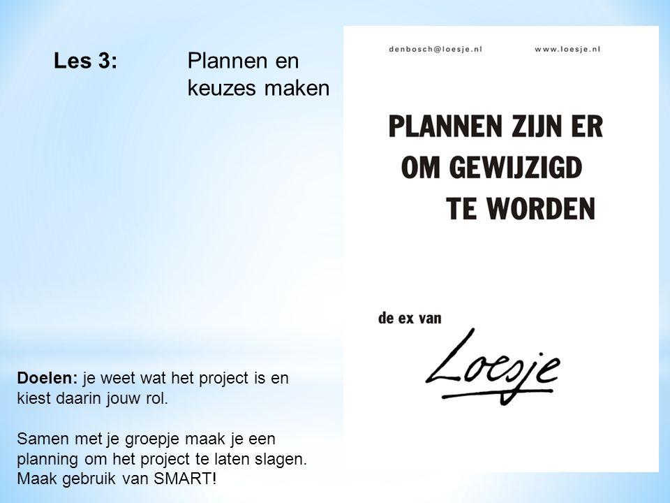 Les 3: Plannen en keuzes maken