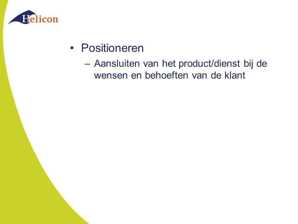 Positioneren Aansluiten van het product/dienst bij de wensen en behoeften van de klant
