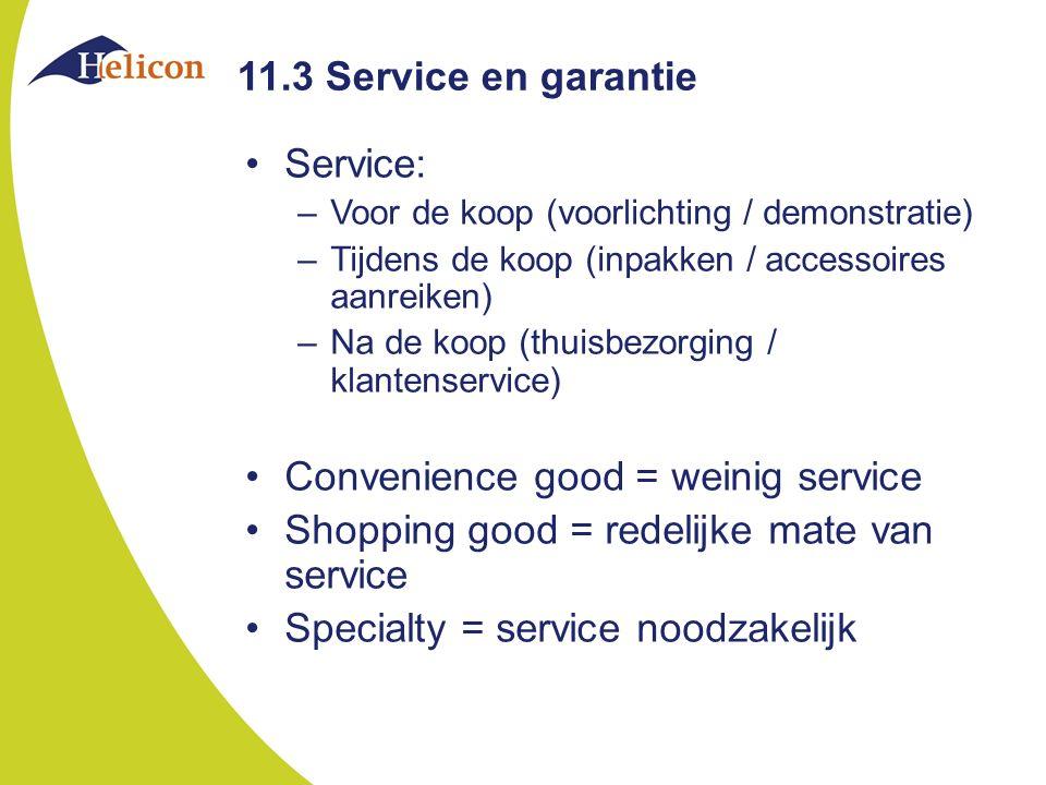 Convenience good = weinig service