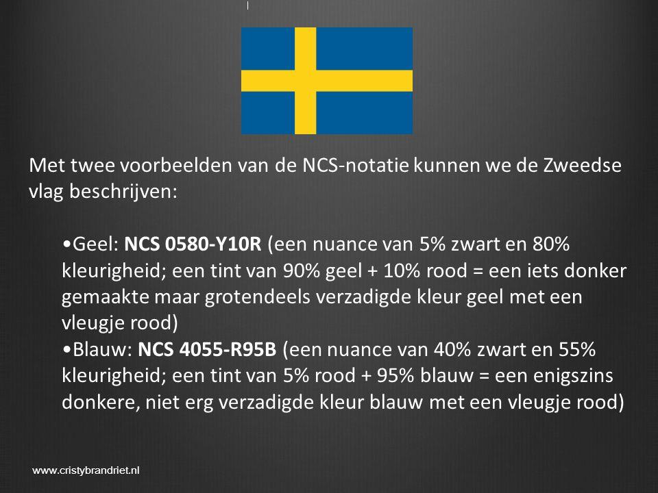 Met twee voorbeelden van de NCS-notatie kunnen we de Zweedse vlag beschrijven: