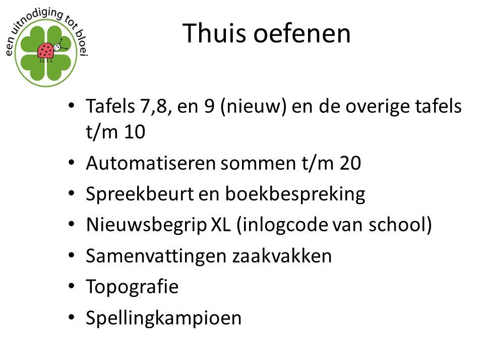 Thuis oefenen Tafels 7,8, en 9 (nieuw) en de overige tafels t/m 10