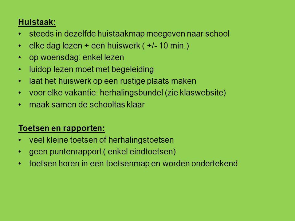 Huistaak: steeds in dezelfde huistaakmap meegeven naar school. elke dag lezen + een huiswerk ( +/- 10 min.)