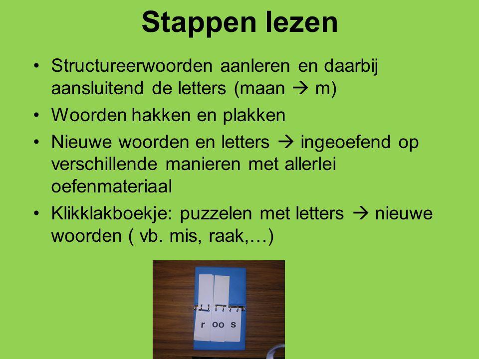 Stappen lezen Structureerwoorden aanleren en daarbij aansluitend de letters (maan  m) Woorden hakken en plakken.