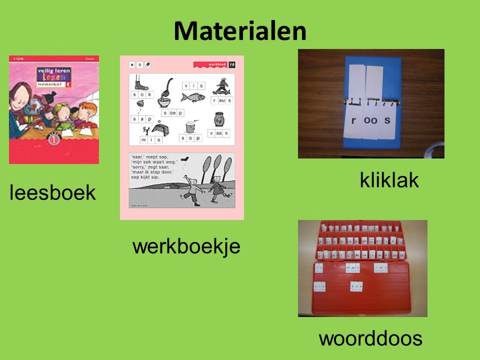 Materialen kliklak leesboek werkboekje woorddoos
