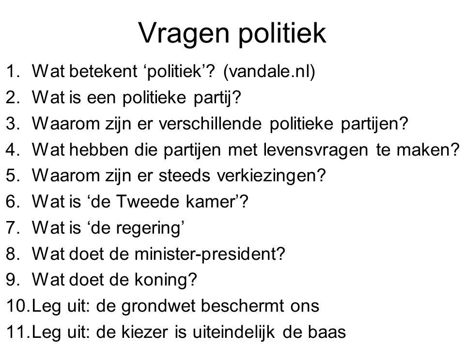 Vragen politiek Wat betekent 'politiek' (vandale.nl)