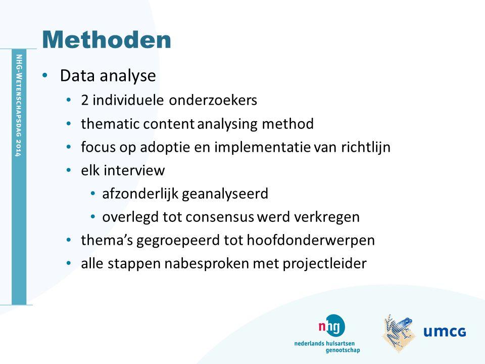 Methoden Data analyse 2 individuele onderzoekers