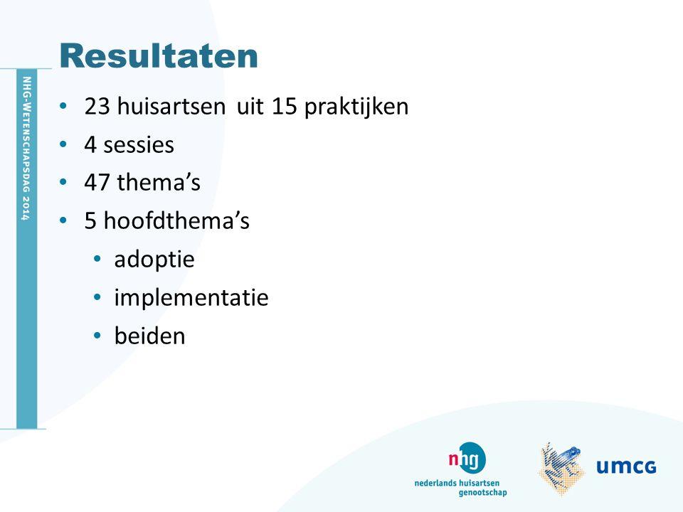 Resultaten 23 huisartsen uit 15 praktijken 4 sessies 47 thema's