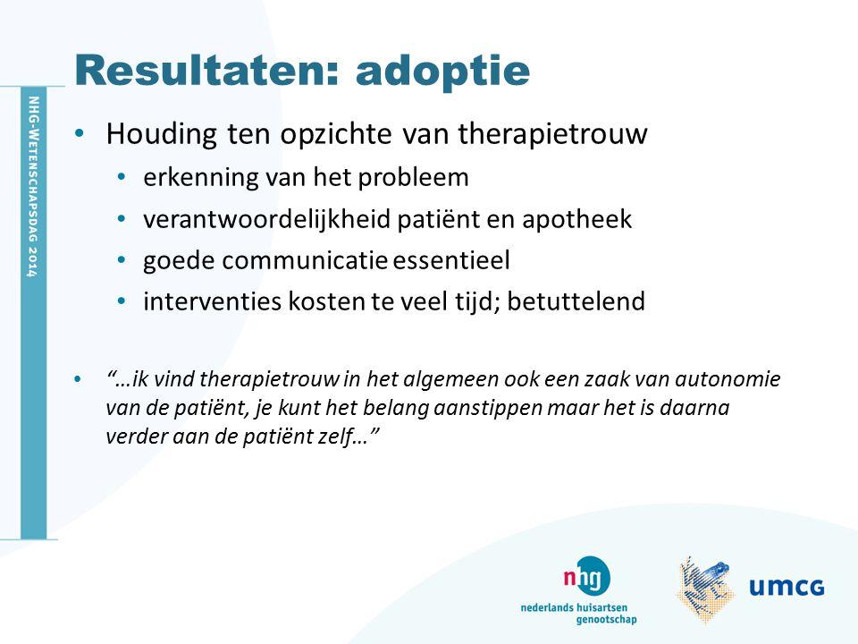 Resultaten: adoptie Houding ten opzichte van therapietrouw