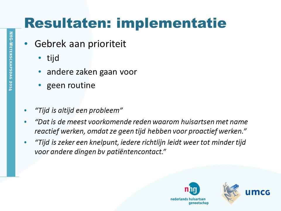 Resultaten: implementatie