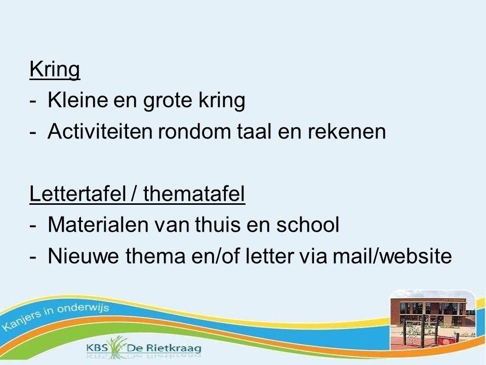 Kring Kleine en grote kring. Activiteiten rondom taal en rekenen. Lettertafel / thematafel. Materialen van thuis en school.