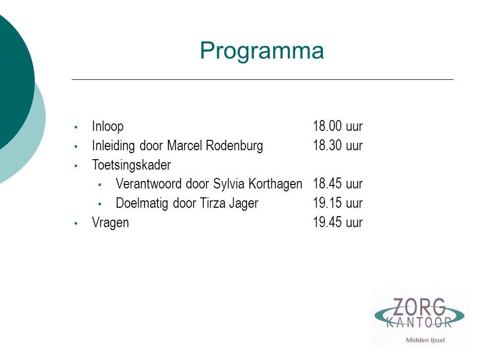 Programma Inloop 18.00 uur Inleiding door Marcel Rodenburg 18.30 uur