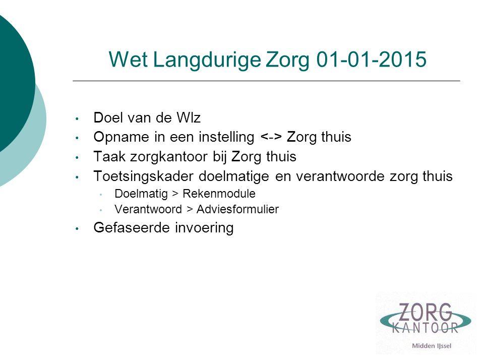 Wet Langdurige Zorg 01-01-2015 Doel van de Wlz