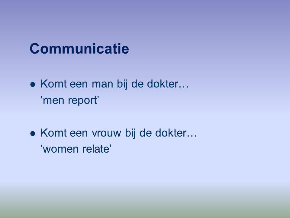 Communicatie Komt een man bij de dokter… 'men report'