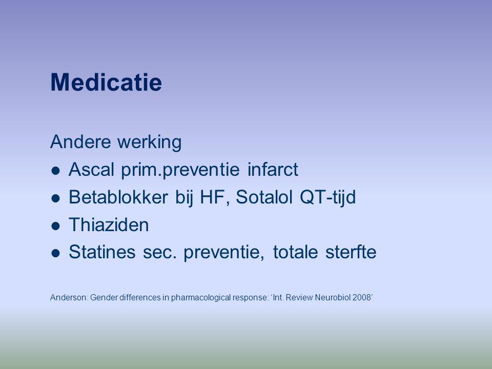 Medicatie Andere werking Ascal prim.preventie infarct