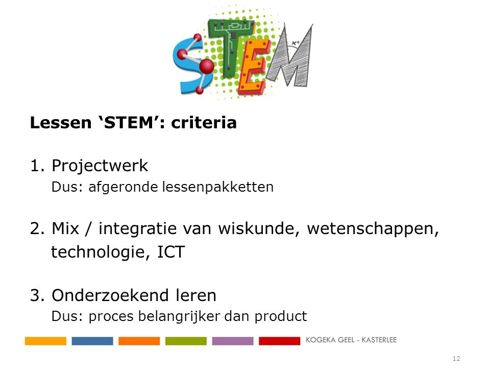 Lessen 'STEM': criteria 1. Projectwerk