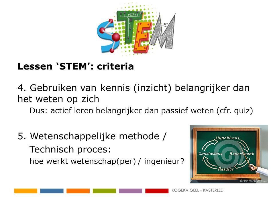 Lessen 'STEM': criteria