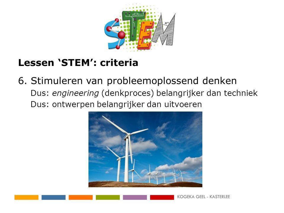 Lessen 'STEM': criteria 6. Stimuleren van probleemoplossend denken