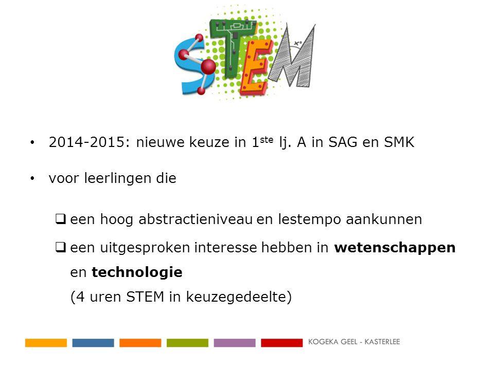 2014-2015: nieuwe keuze in 1ste lj. A in SAG en SMK