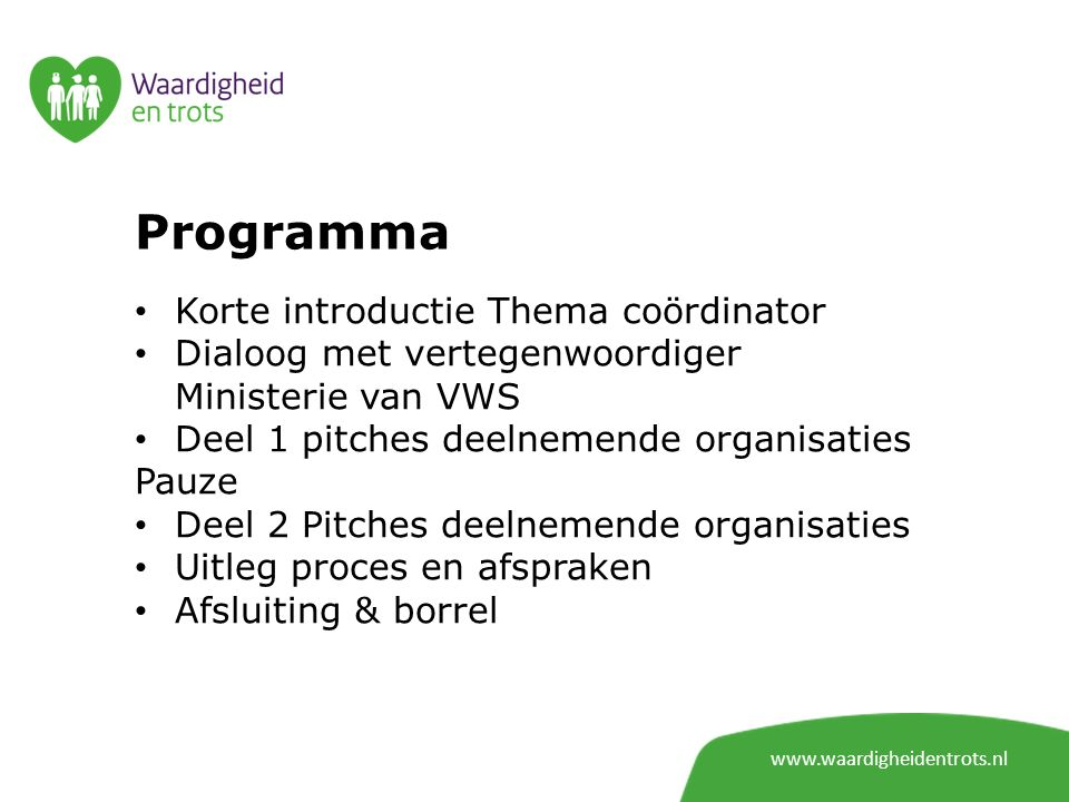 Programma Korte introductie Thema coördinator