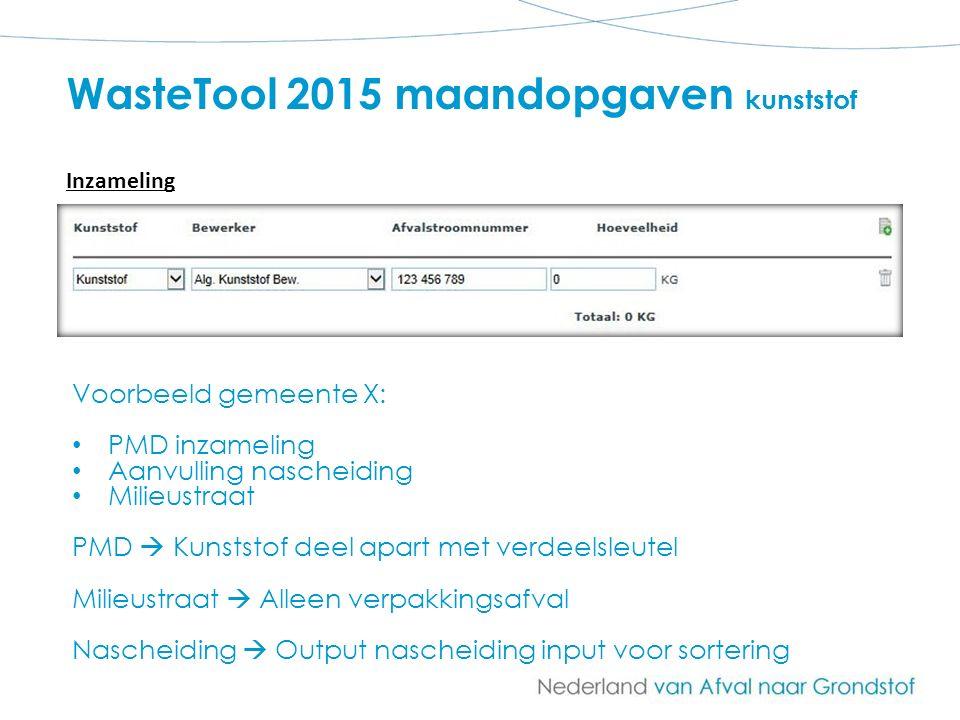 WasteTool 2015 maandopgaven kunststof