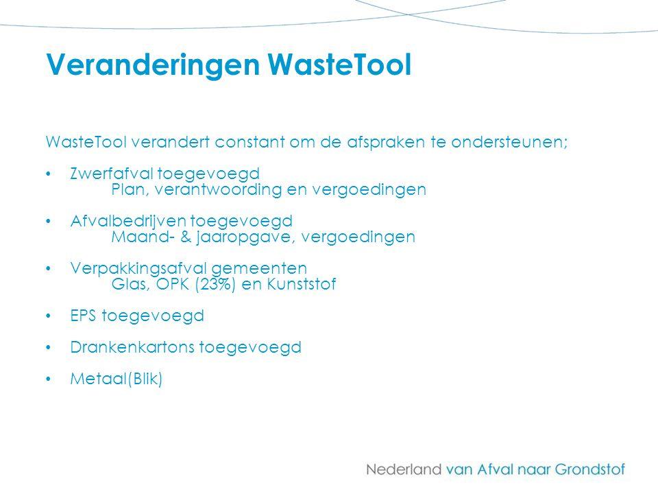 Veranderingen WasteTool