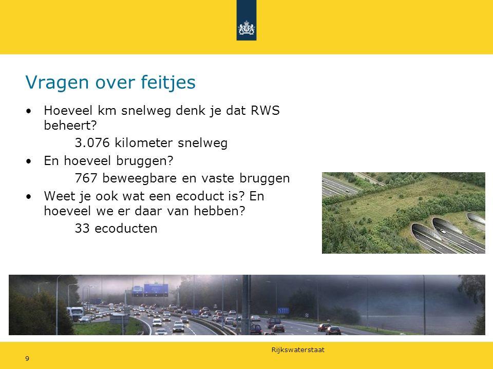 Vragen over feitjes Hoeveel km snelweg denk je dat RWS beheert