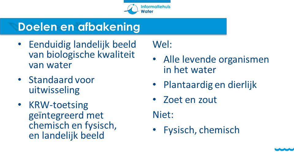 Doelen en afbakening Eenduidig landelijk beeld van biologische kwaliteit van water. Standaard voor uitwisseling.