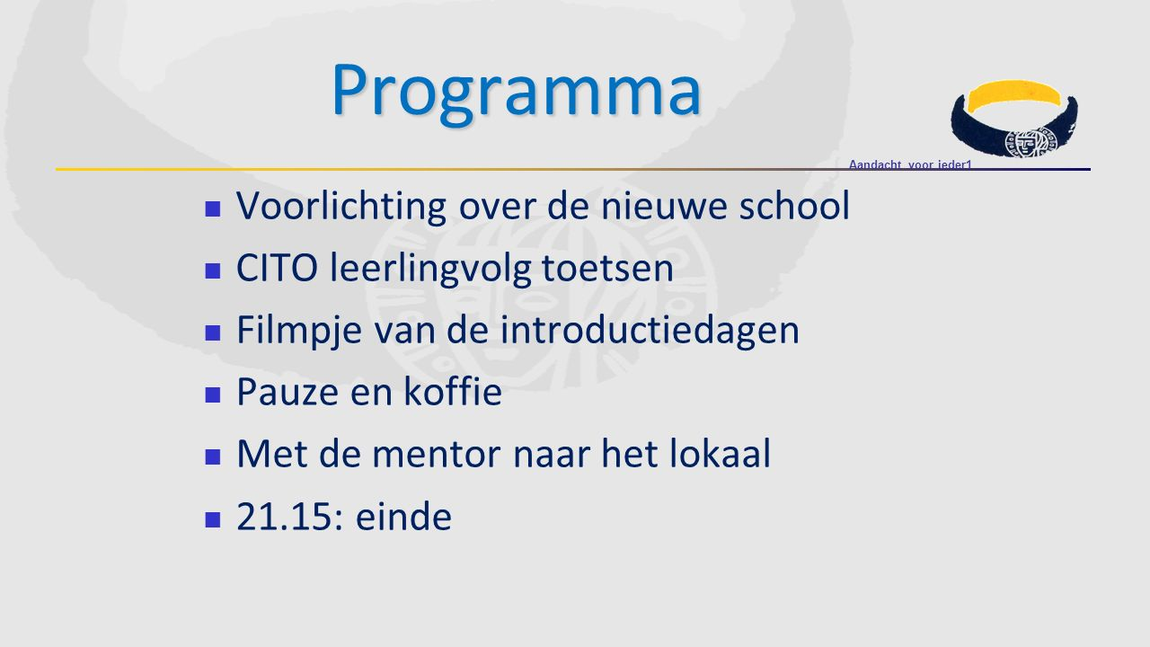 Voorlichting over de nieuwe school CITO leerlingvolg toetsen