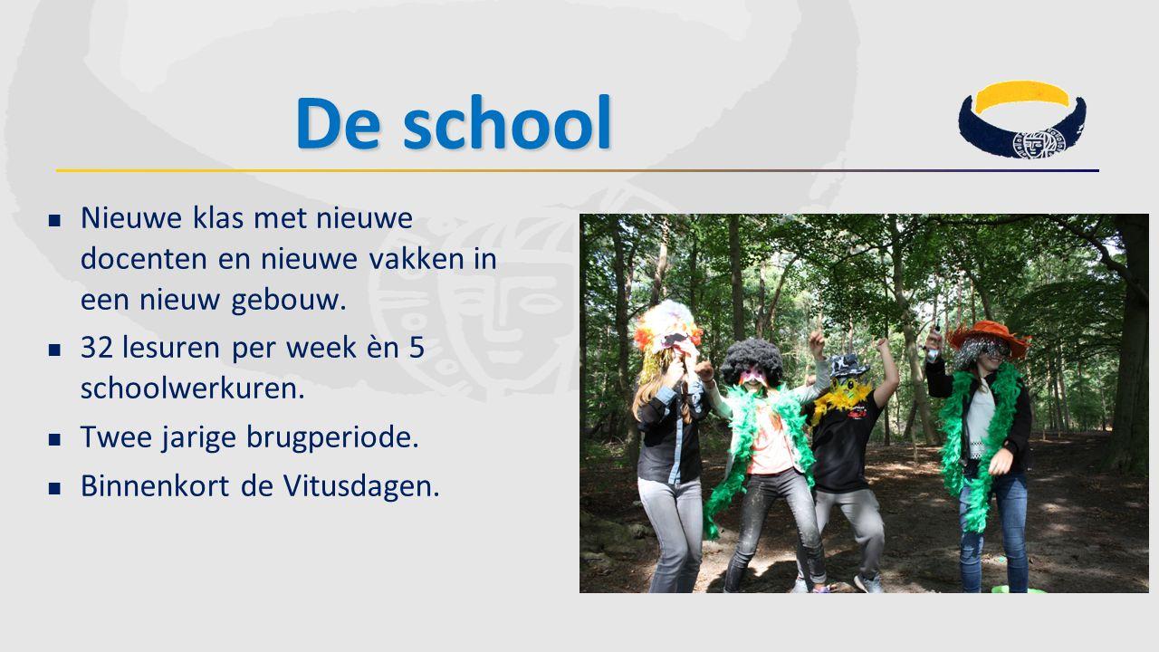 De school Nieuwe klas met nieuwe docenten en nieuwe vakken in een nieuw gebouw. 32 lesuren per week èn 5 schoolwerkuren.