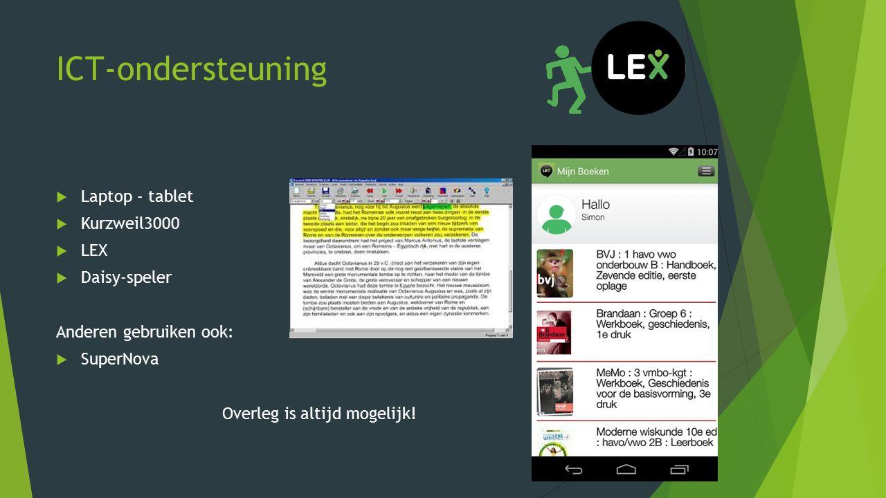 ICT-ondersteuning Laptop - tablet Kurzweil3000 LEX Daisy-speler