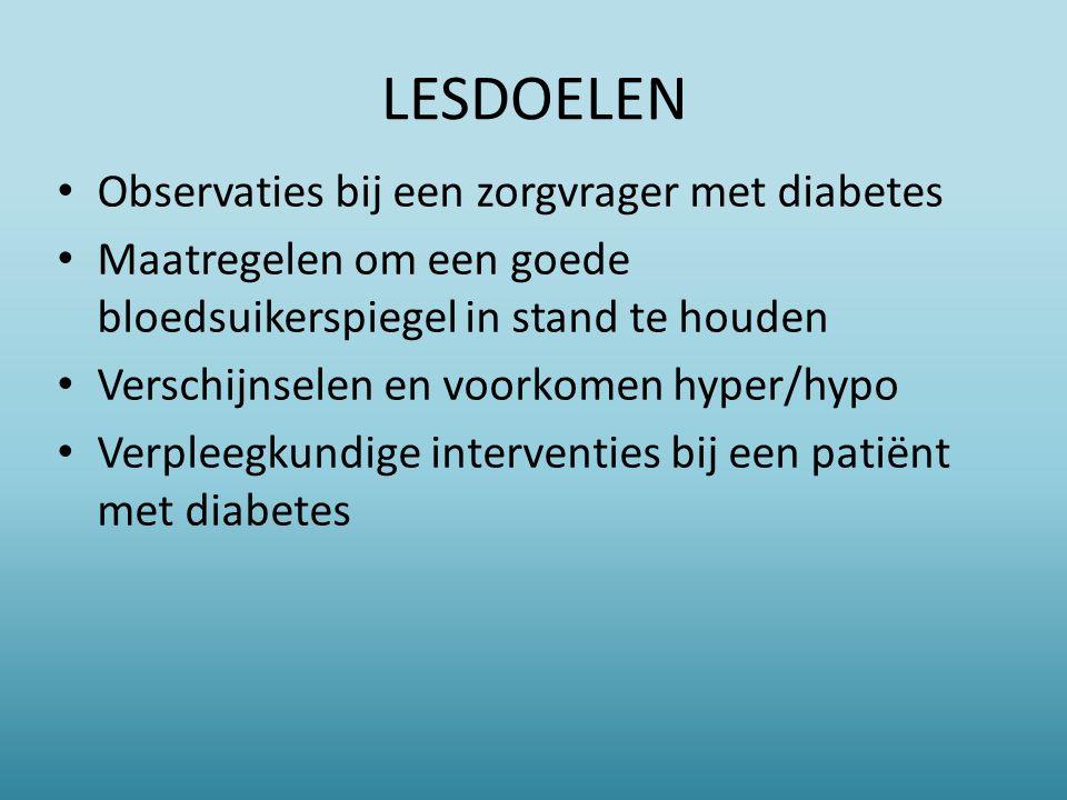 LESDOELEN Observaties bij een zorgvrager met diabetes