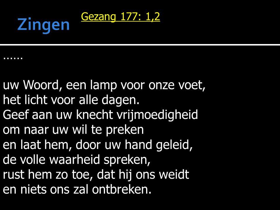 Zingen …… uw Woord, een lamp voor onze voet,
