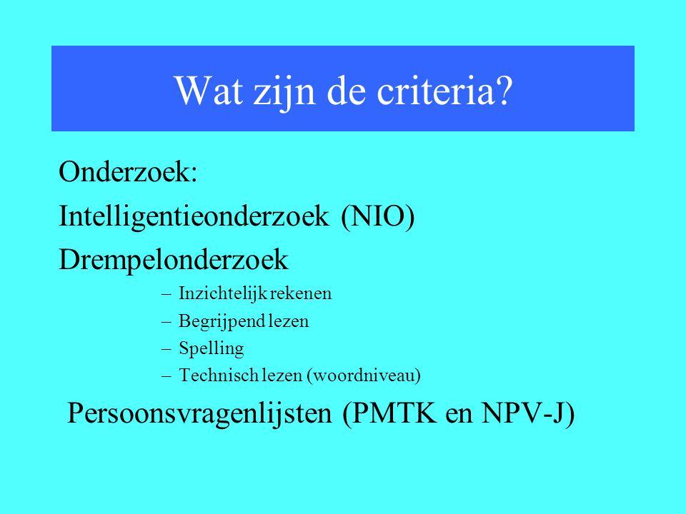 Wat zijn de criteria Onderzoek: Intelligentieonderzoek (NIO)