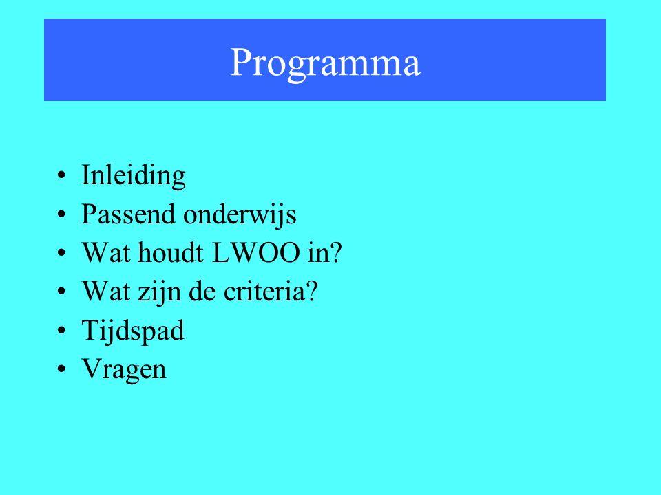 Programma Inleiding Passend onderwijs Wat houdt LWOO in